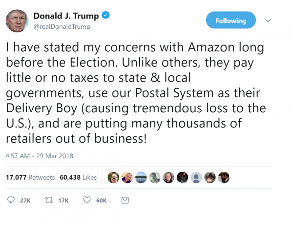Trump Says Amazon Pays Little Or No Taxes To State And Local Governments?